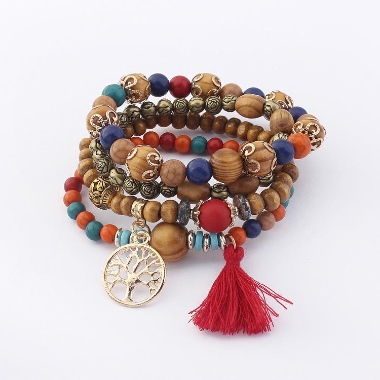 欧美创意镂空大树手链手镯女复古木珠串珠多层弹力手串摆地摊货源