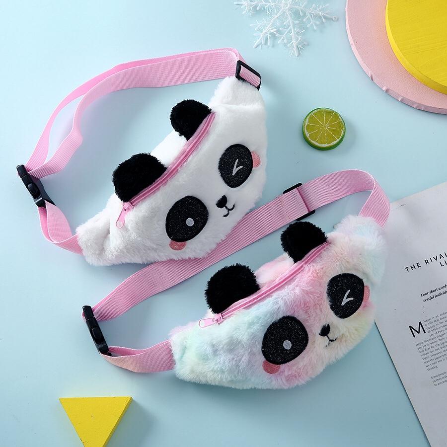 冬季新款熊猫卡通可爱毛绒腰包儿童毛茸茸单肩斜挎包少女可爱胸包