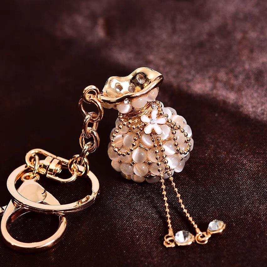 韩国猫眼石福袋网红钥匙扣ins创意汽车钥匙链挂件平安女小巧精致