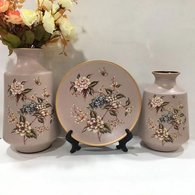0771商铺烤花陶瓷三件套花瓶装饰柜客厅书房花器套装工艺品礼品批发摆件批发