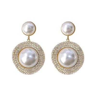 高级感精致经典设计满钻大气珍珠耀眼光芒耳环