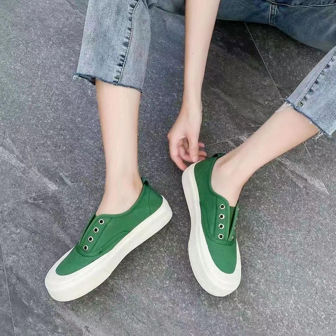 新款百搭多色低帮帆布鞋女一脚蹬休闲板鞋单鞋潮