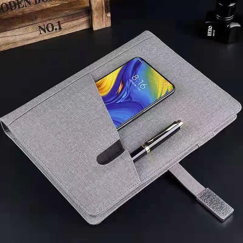 多功能8000毫安充电宝笔记本 无线充电记事本 带U盘搭扣本子