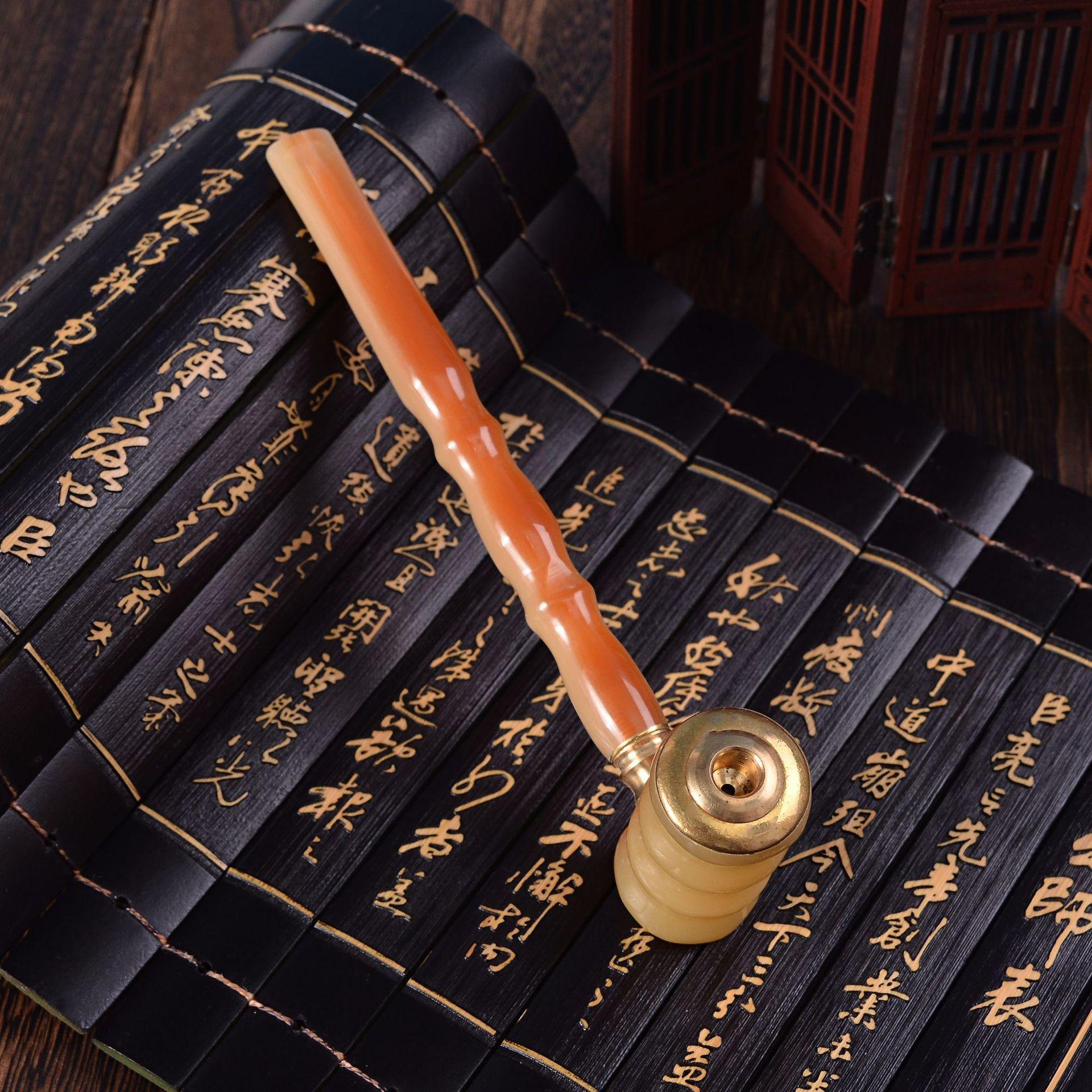 厂家现货批发仿牛角两用过滤烟斗竹节烟咀烟具商务赠品礼品