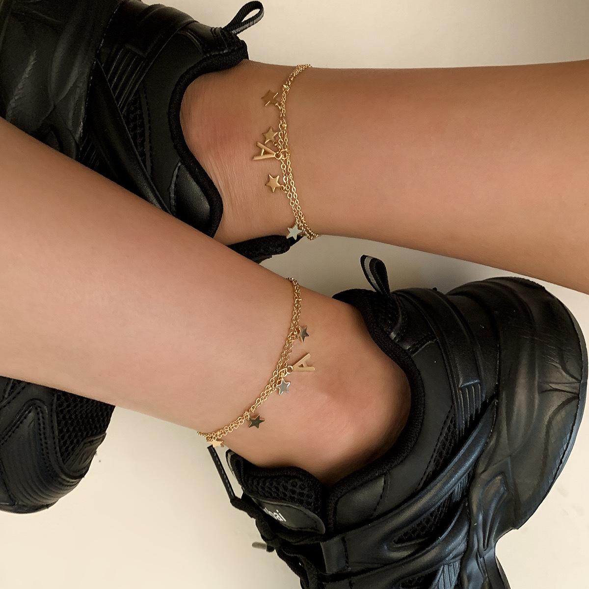 五角星字母流苏金属脚链女夏 海边度假欧美个性明星同款洋气脚链