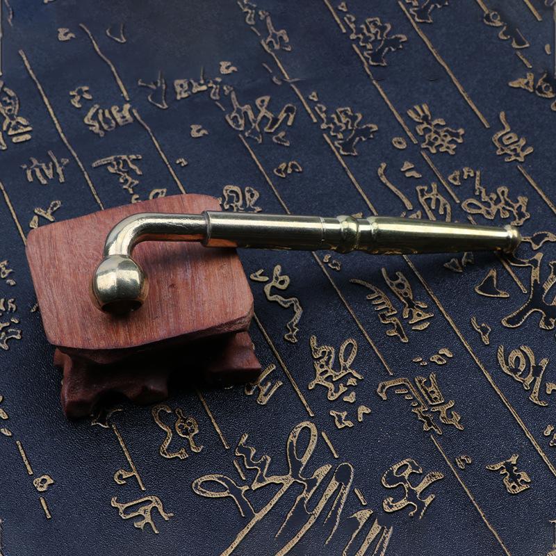 供应铜金属烟斗可拉伸老式旱烟杆烟袋锅黄铜烟锅可用 两用