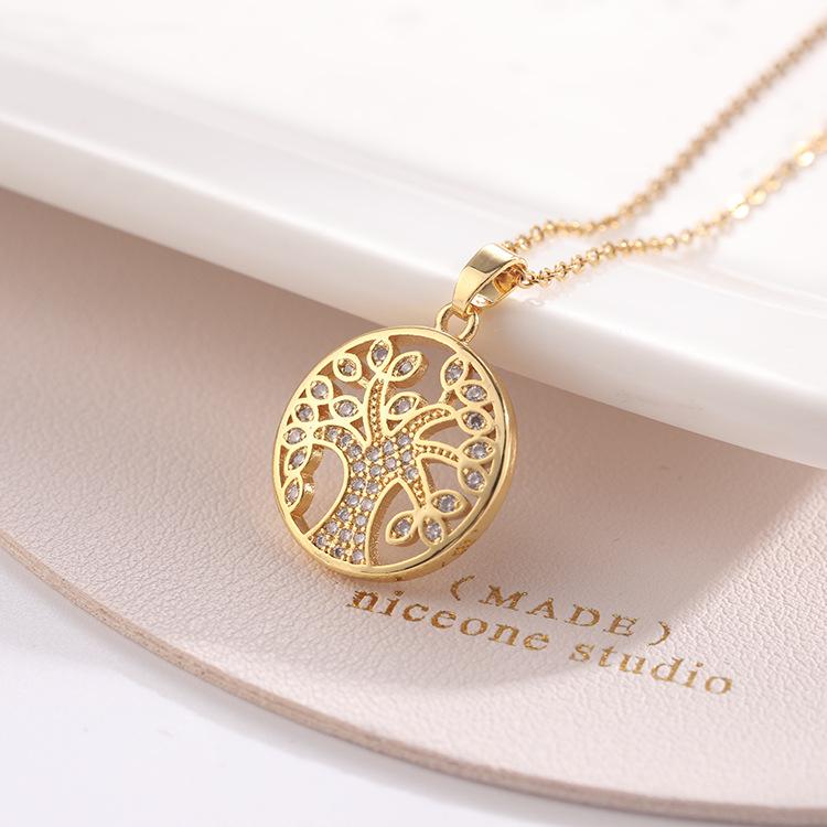 跨境欧美时尚女性饰品锆石铜电镀真金钛钢链条生命之树吊坠项链