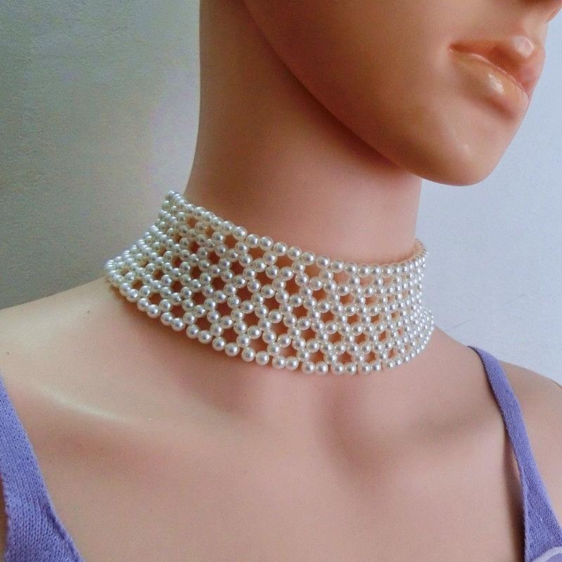 仙女白色蕾丝珍珠流苏项链女潮镶钻气质颈链锁骨链女礼服新娘配饰