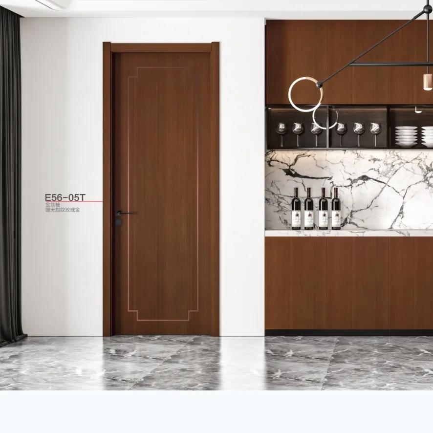全屋定制 多层实木门 平板门 现代简洁款 房门 卫生间门 免费量尺  免费安装  E56-05T镶无指纹玫瑰金