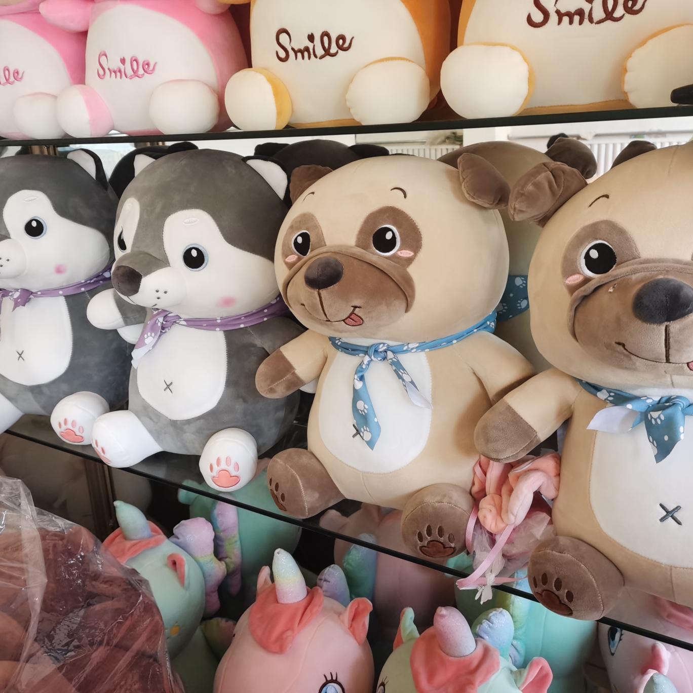 梦幻毛绒玩具围巾皱皮狗哈士齐0777摊位精品毛绒玩具