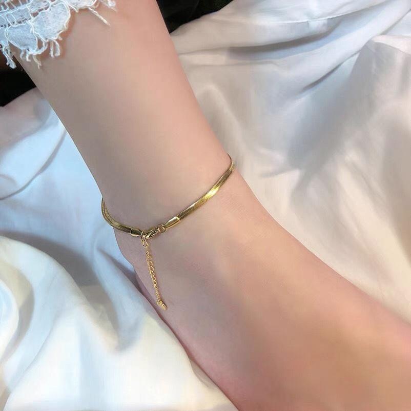 扁蛇骨脚链韩版钛钢网红简约足链可调节高定脚链