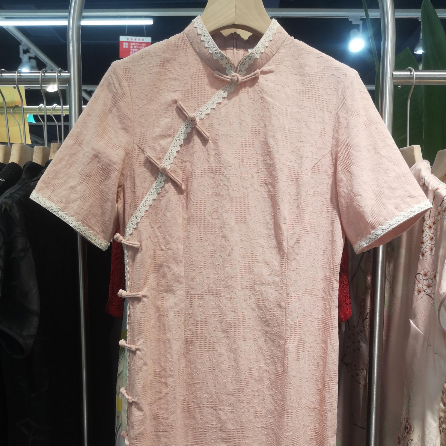 纯色棉旗袍