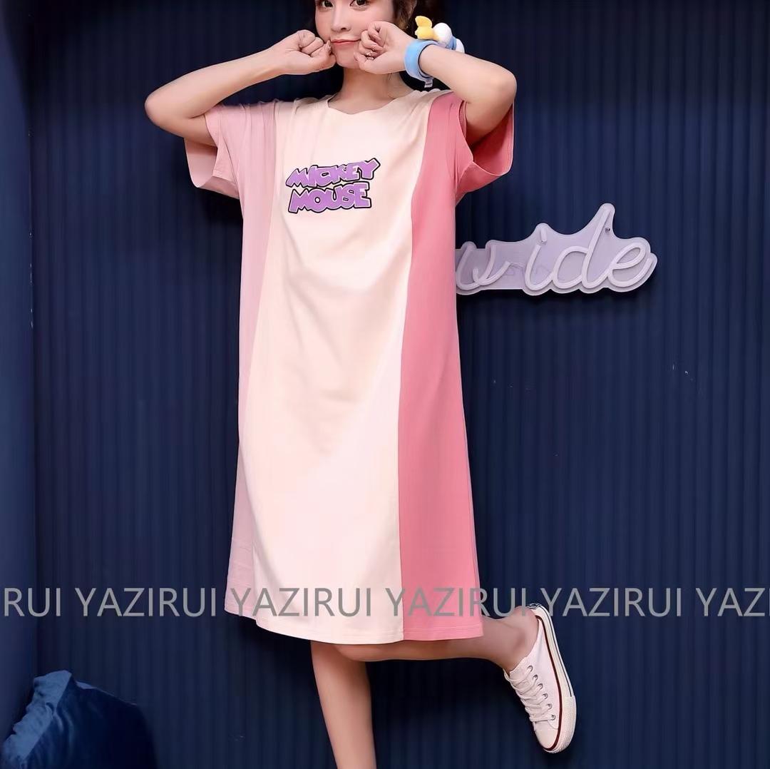 睡衣女夏季纯棉薄款学生宽松连衣裙睡裙时尚舒适家居服25