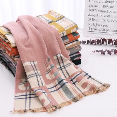 大B短须梭织围巾女秋冬季韩版散须高档时尚加厚仿羊绒长披肩现货