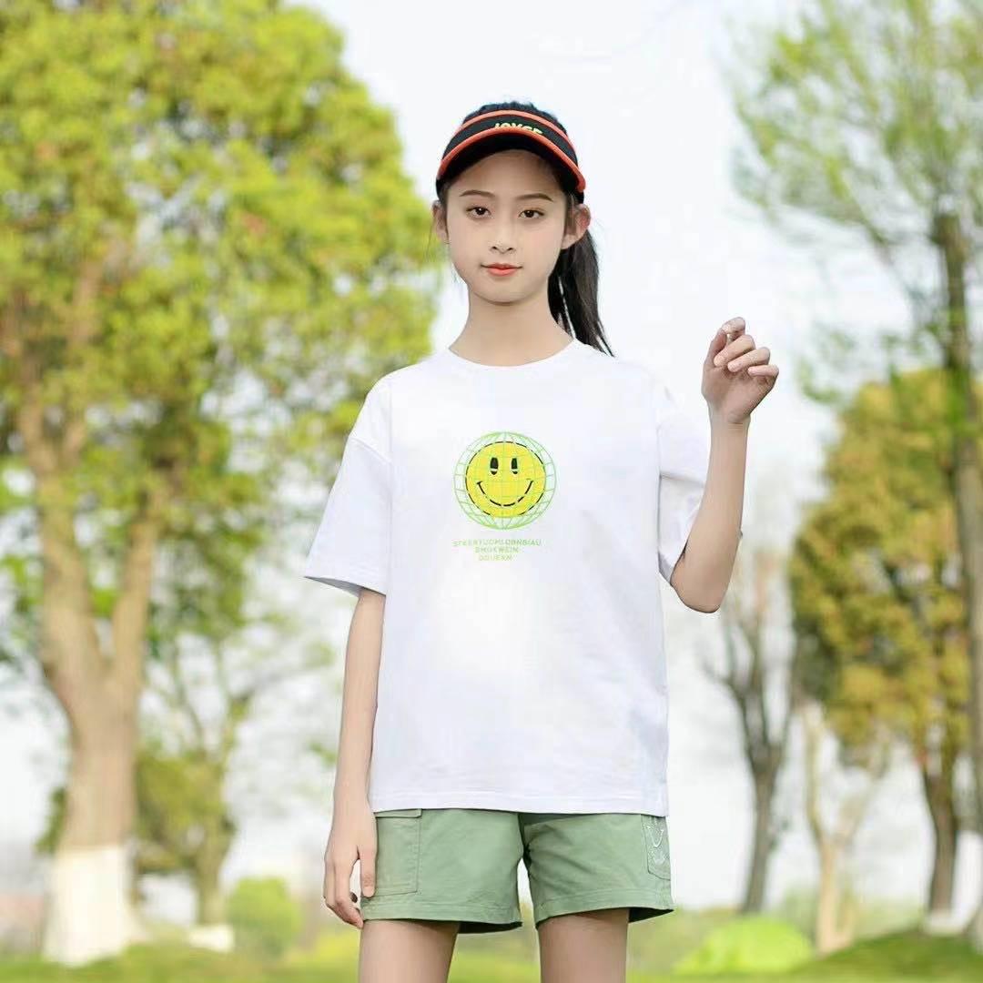 圆领黄色笑脸白T恤女童夏天款