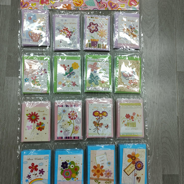 折叠带信封韩国创意贺卡商务生日祝福感恩小卡片烫金新年贺卡批发教师节贺卡5818