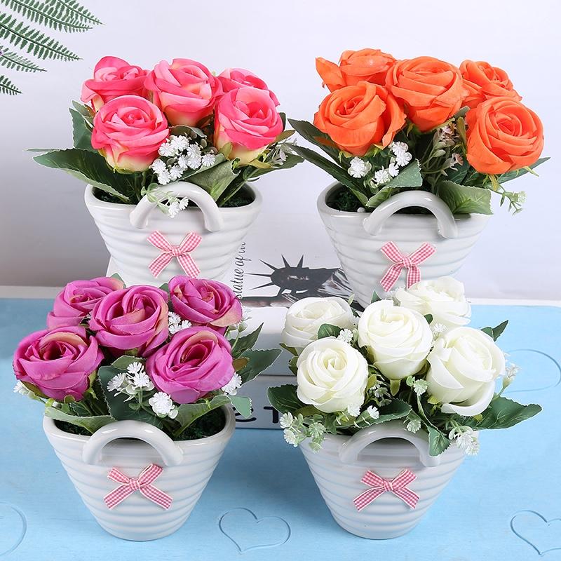 陶瓷玫瑰花摆件创意