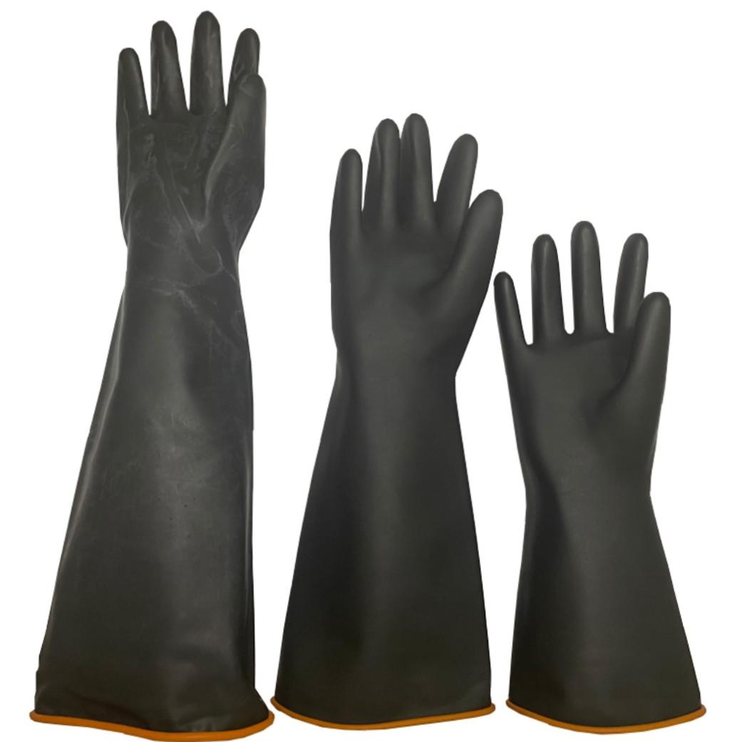 加厚耐酸碱手套黑色超厚工业乳胶防化加长橡胶化工电镀厂印染包邮