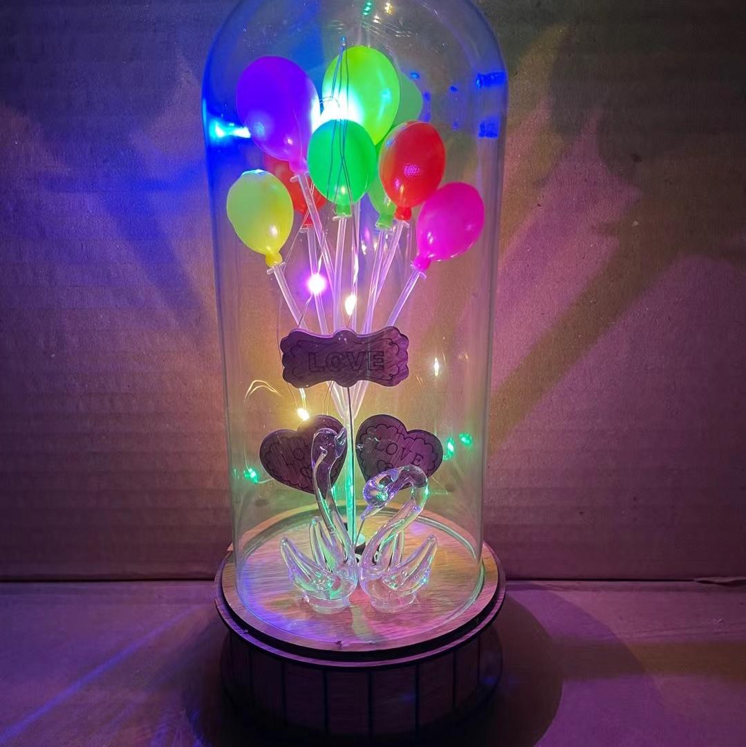 新款大号带闪灯 可爱双天鹅带气球礼盒CHR-101