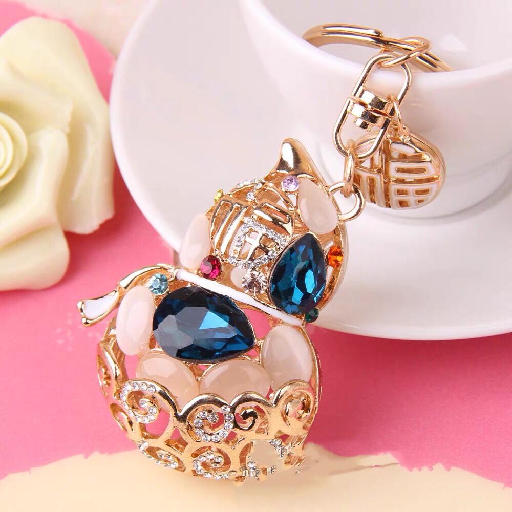 创意钥匙链女水钻猫眼石葫芦汽车钥匙扣女士韩国水晶包包挂饰福字挂件挂饰
