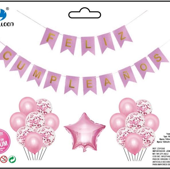 西语生日拉条五角星气球组合套装 生日派对节日用品套装 1212店面 多款可选 可订做