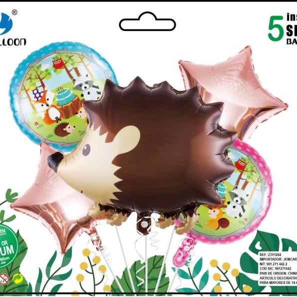 小动物5件组合套装铝膜气球 各种节日派对房间装饰用品 1212店面 多款可选 可订做