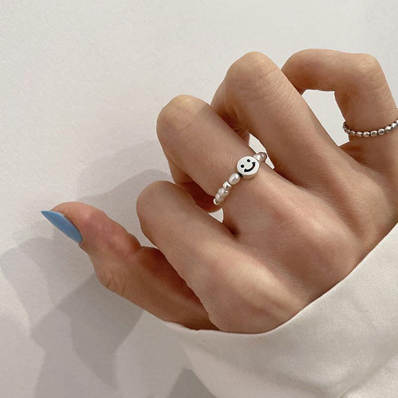 泰银手工珍珠笑脸个性戒指