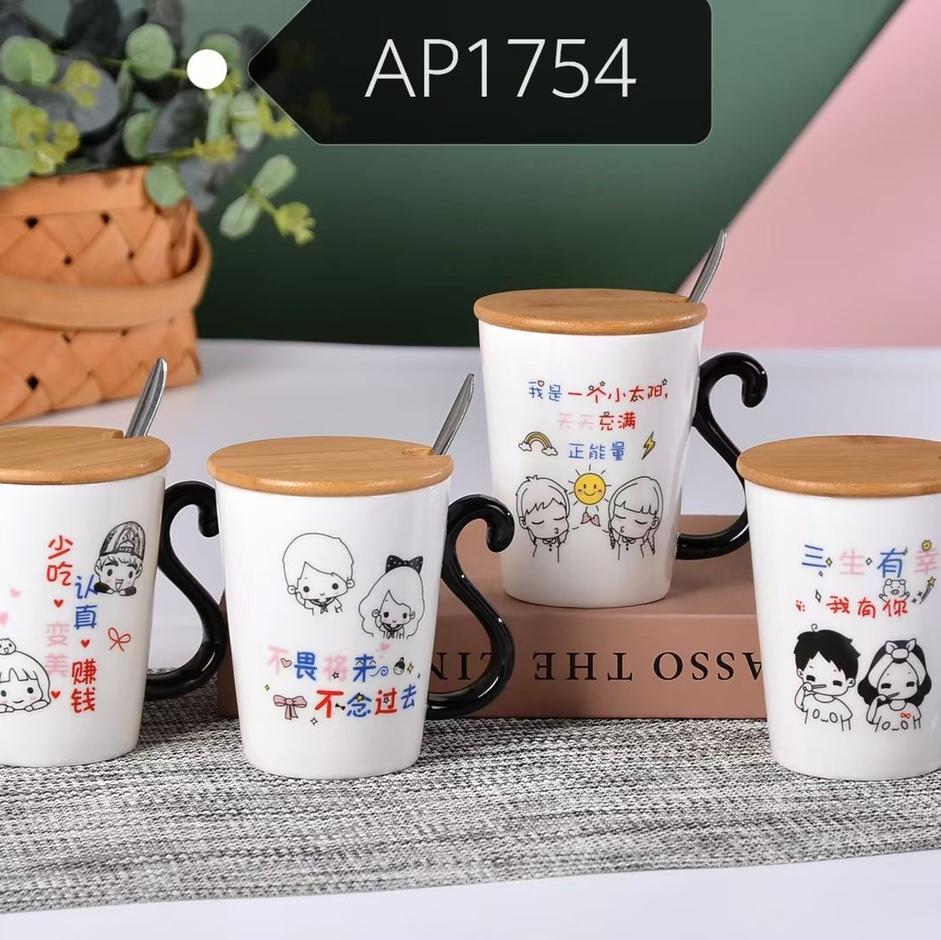 陶瓷高颜值水杯带盖勺早餐杯网红水杯陶瓷杯AP1754