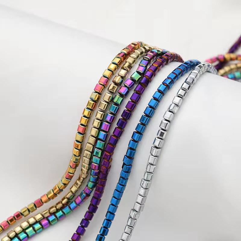 新款混色饰品配件 个性服饰配件黑胆石真空电镀散珠厂家直供批发