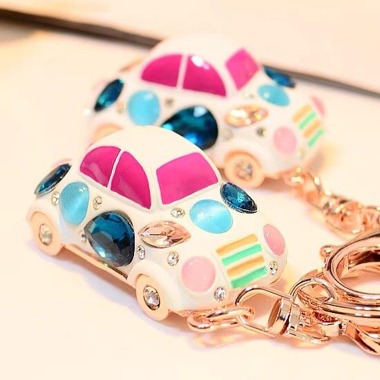 锆石水晶甲壳虫汽车钥匙扣女士钥匙链时尚包包车挂件饰品礼物