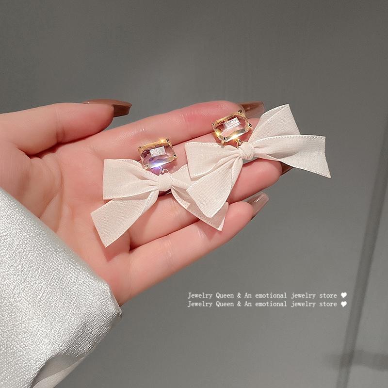 法式超仙气奶油白色蝴蝶结复古耳环少女甜美温柔气质耳钉耳饰品
