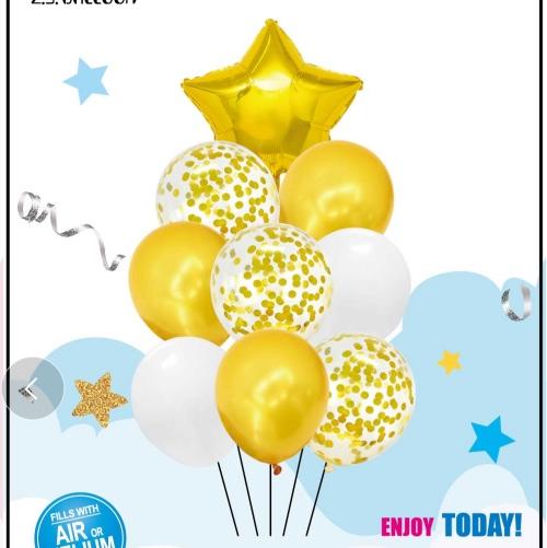 五角星铝膜气球组合乳胶气球9件套装 生日派对各种节日装饰用品 多款可选 1212店面 可订做