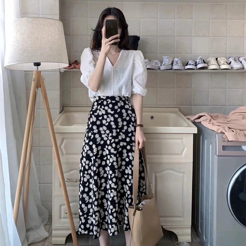 大码女装夏2021年新款胖mm连衣裙套装时尚洋气短袖上衣两件套