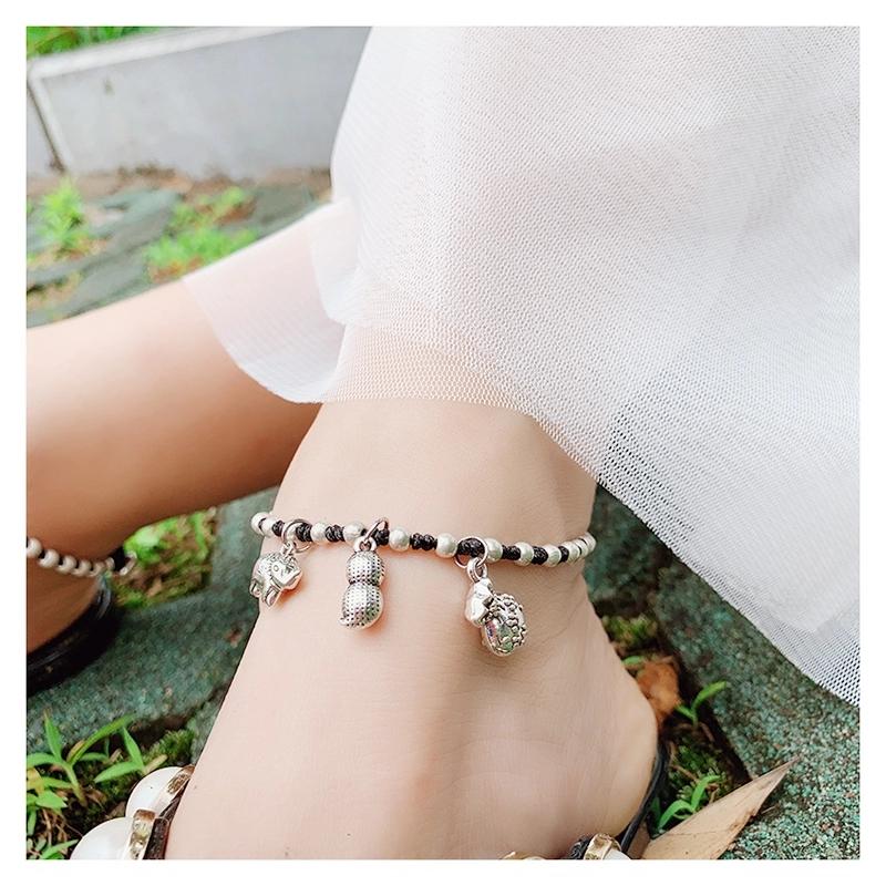 晶珀丽品牌进口韩国蜡线纯手工编织生花吉祥纳福脚链