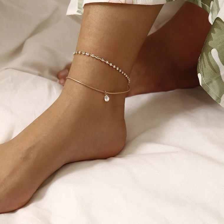 简约爪链水晶双层脚链女 欧美简约ins风 Sexy性感海边旅行脚饰品