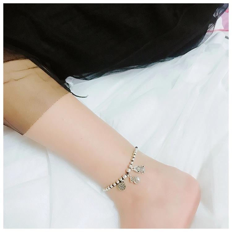 晶珀丽品牌进口韩国蜡线纯手工编织进财进福脚链