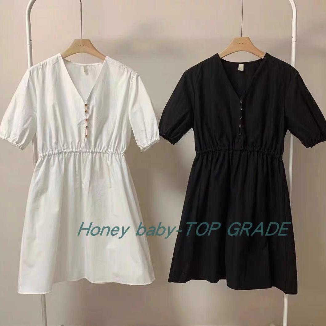 两色短款连衣裙