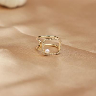 成隆首饰个性珍珠小方形戒指女ins冷淡风气质几何食指戒小众设计感饰开口CL01074-40