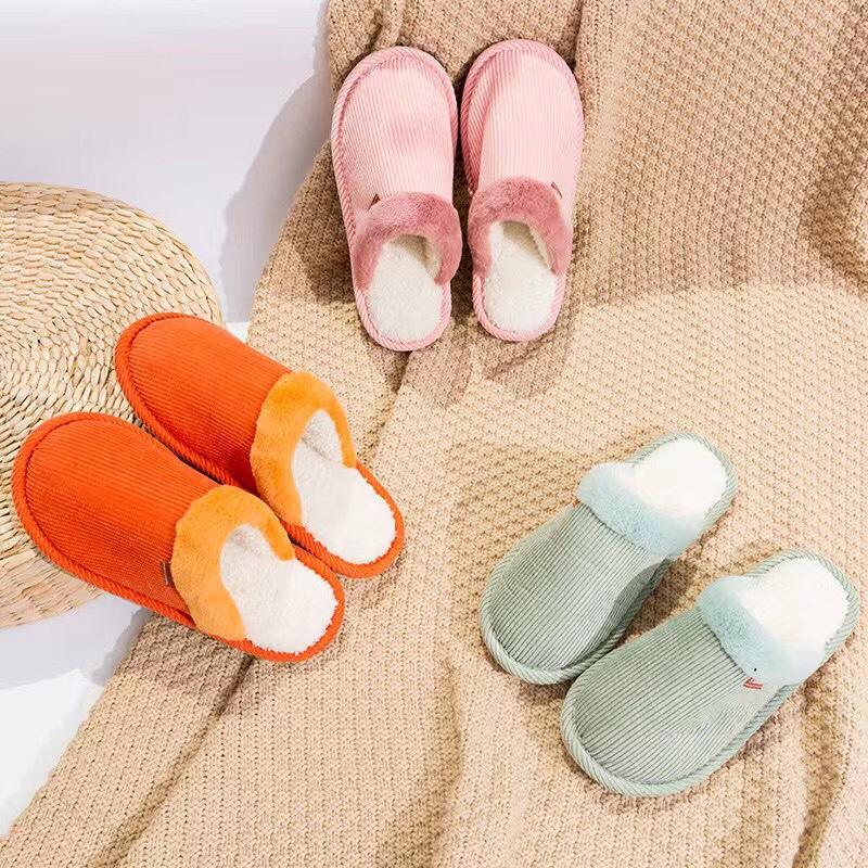 时尚灯芯绒短毛口保暖棉拖鞋