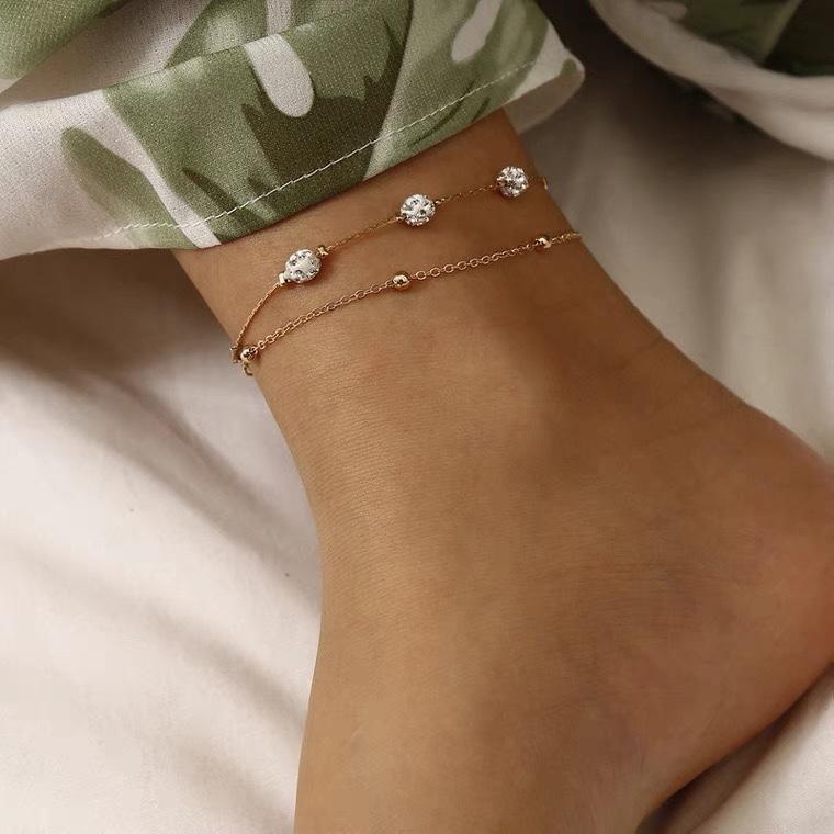 (单只)镶钻珠子双层脚链女 欧美ins性感甜美闪钻度假风旅拍脚饰