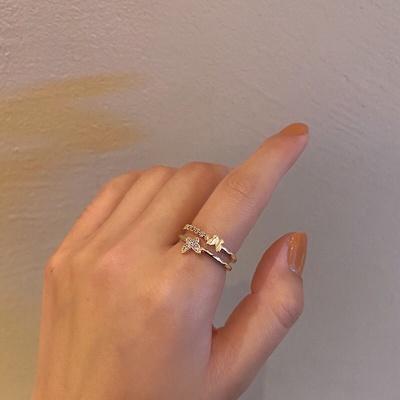 成隆首饰日韩甜美ins精致蝴蝶双层戒指女个性开口指环轻奢小众设计食指戒CL01062-25