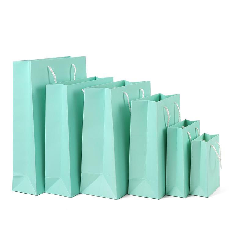 手提袋牛皮纸袋圣诞包装礼品袋礼物服装店衣服女装印logo大量现货多色可选蒂凡尼绿