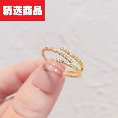 成隆首饰欧美轻奢双层戒指女小众原创设计食指指环高级感可调节开口戒尾戒CL01321-27.5