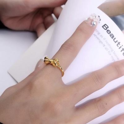 成隆首饰日韩风镀金蝴蝶结戒指ins冷淡风简约个性开口女指环CL01293-22.5