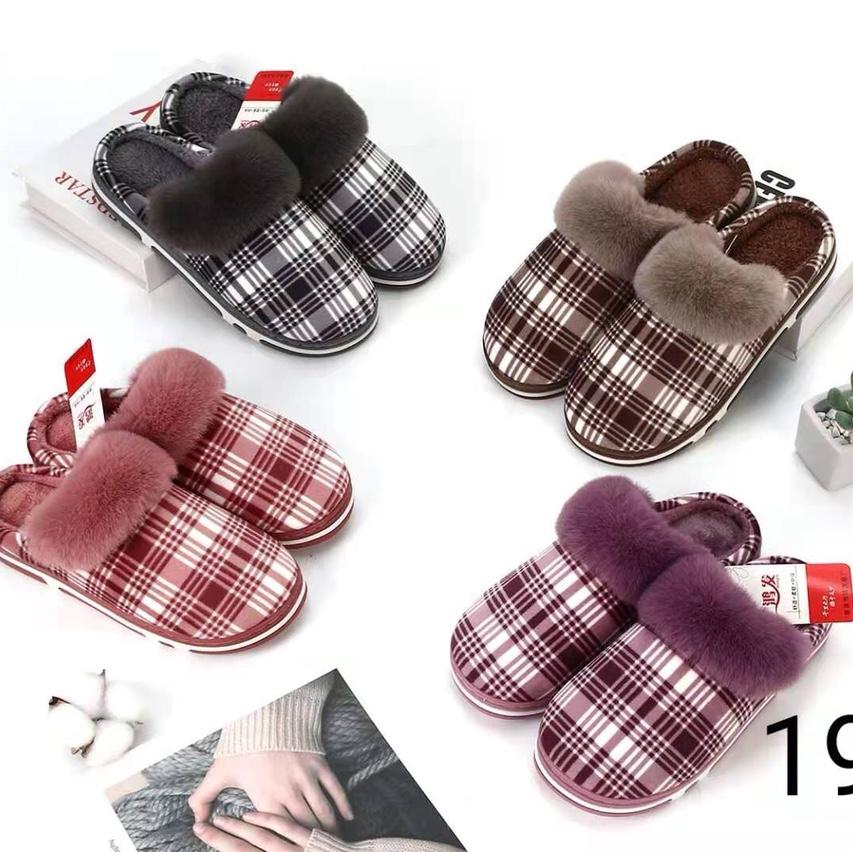 新款格子毛口半包跟时尚棉拖鞋