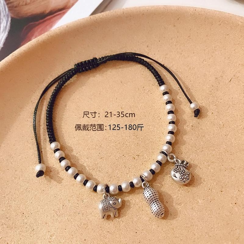 晶珀丽品牌进口韩国蜡线纯手工编织吉祥纳福脚链