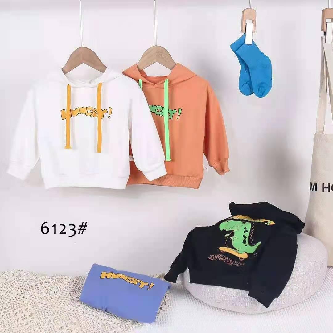 FS秀萍童装批发新款 秋款精品纯棉恐龙字母帽子卫衣批发15元 四个码为一首拿货,一个颜色就四个码子。可以选择你需要的颜