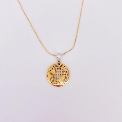 欧美时尚新款不锈钢饰品地图项链 金色地球地图不锈钢项链