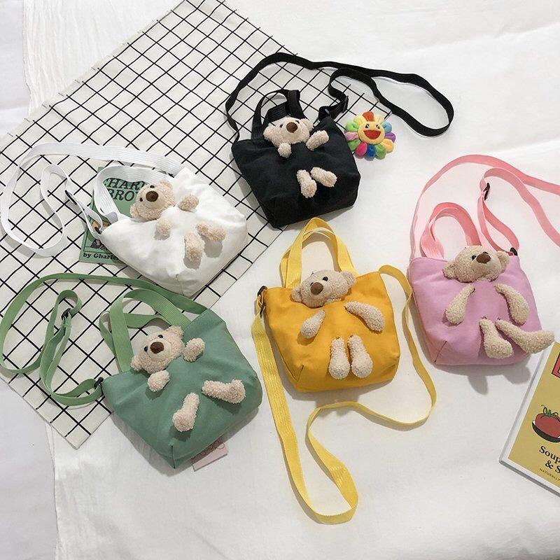 可爱小包包秋季新款韩国ins卡通小熊帆布包儿童单肩斜挎包潮