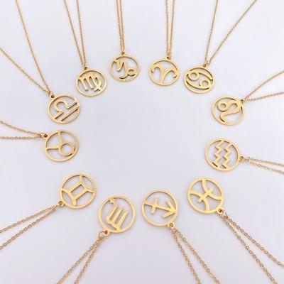欧美时尚金色镂空十二星座不锈钢项链 女士圆形星座钛钢吊坠 十二星座不锈钢项链